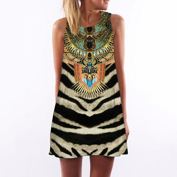 3D Vintage Print Striped Pattern Mini  Dress