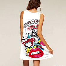 Load image into Gallery viewer, 3D Vintage Print Lip Mini Dress