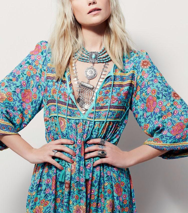 Floral Printed Deep V-Neck Splicing Maxi Dress