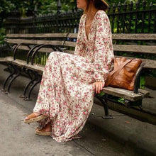 Load image into Gallery viewer, 2018 Summer Floral  Dress Lantern Sleeve V Neck Maxi Dress