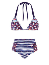 Load image into Gallery viewer, Halter  Polka Dot Striped Bikini