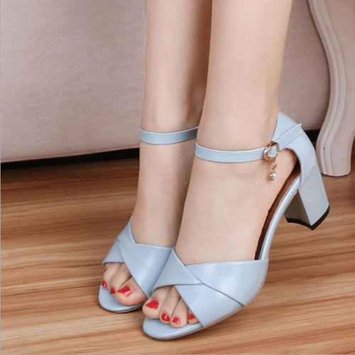Chunky  Mid Heeled  Ankle Strap  Peep Toe  Date Formal Sandals
