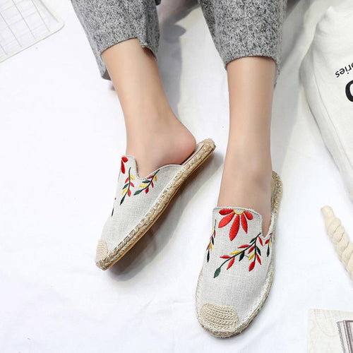 Fashion Hemp Rope Weaving Embroidery Flat Shoes