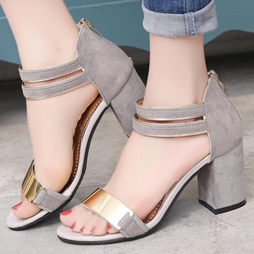 Chunky  High Heeled  Ankle Strap  Peep Toe  Date Sandals