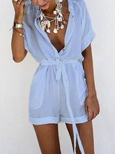 Load image into Gallery viewer, Casual V Collar Pure Color Playsuit
