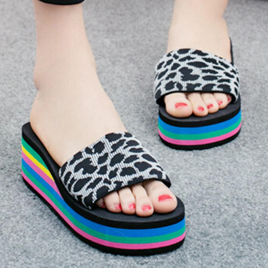 Animal Printed  Mid Heeled  Peep Toe  Casual Slippers