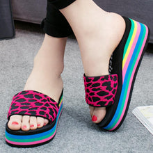 Load image into Gallery viewer, Animal Printed  Mid Heeled  Peep Toe  Casual Slippers