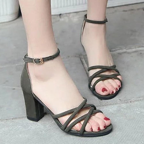Chunky  High Heeled  Velvet  Ankle Strap  Peep Toe  Casual Date Sandals