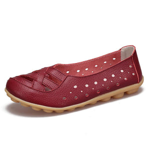 Hollow Out Plain  Flat  Round Toe  Casual Flat & Loafers