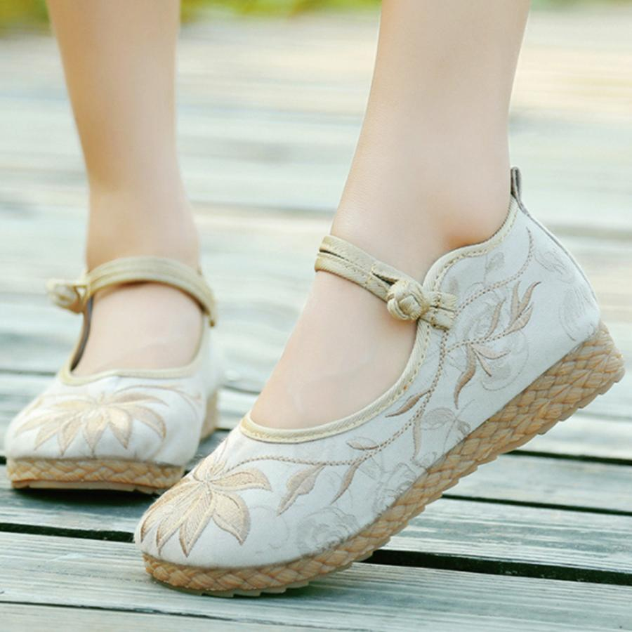 Embroidery Floral  Low Heeled  Blend  Ankle Strap  Round Toe  Casual Flat & Loafers