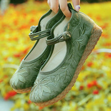 Load image into Gallery viewer, Embroidery Floral  Low Heeled  Blend  Ankle Strap  Round Toe  Casual Flat & Loafers