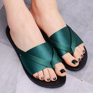 Plain  Flat  Silk  Peep Toe  Casual Slippers