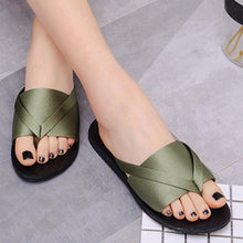 Load image into Gallery viewer, Plain  Flat  Silk  Peep Toe  Casual Slippers