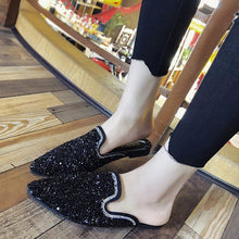 Load image into Gallery viewer, Fashion Rhinestone Sequins Pointed Mueller Shoes