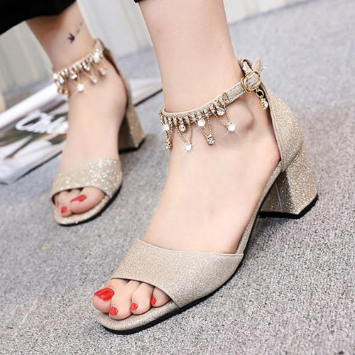 Chunky  Mid Heeled  Ankle Strap  Peep Toe  Date Sandals