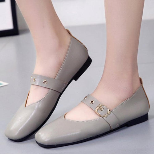 Plain  Flat  Square Toe  Casual Date Office Flat & Loafers