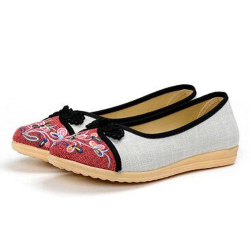 Embroidery  Flat  Linen  Round Toe  Casual Flat & Loafers