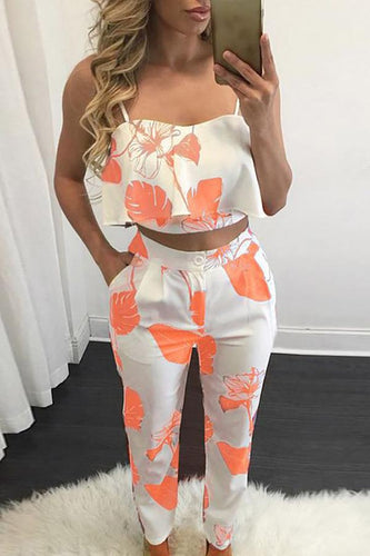 Fashion Flounced Print Cropped Twinset