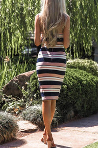 Spaghetti Strap  Backless  Striped  Sleeveless Bodycon Dresses