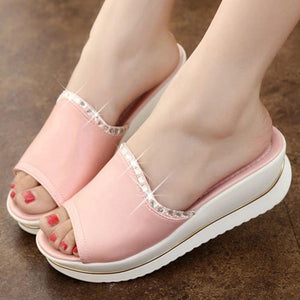 Plain  High Heeled  Peep Toe  Casual Date Slippers
