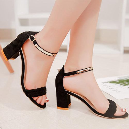 f369cce8d14 Plain Chunky High Heeled Velvet Ankle Strap Peep Toe Date Office Sandals
