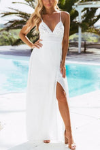 Load image into Gallery viewer, Spaghetti Strap  Backless High Slit  Plain  Sleeveless Maxi Dresses
