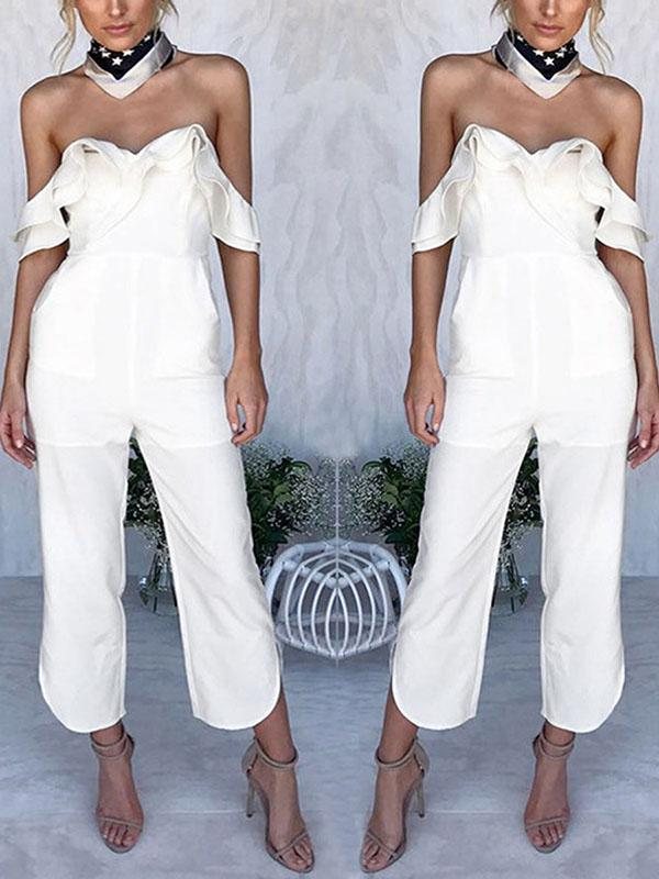 Fashion Off Shoulder Short Sleeves Jumpsuit