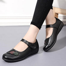 Load image into Gallery viewer, Embroidery Plain  Low Heeled  Ankle Strap  Round Toe  Casual Date Flat & Loafers