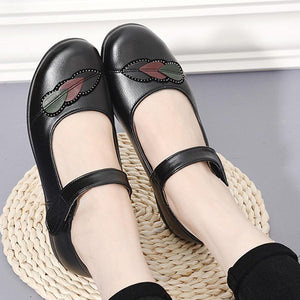 Embroidery Plain  Low Heeled  Ankle Strap  Round Toe  Casual Date Flat & Loafers