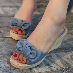 Plain  High Heeled  Linen  Peep Toe  Casual Date Wedges