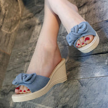 Load image into Gallery viewer, Plain  High Heeled  Linen  Peep Toe  Casual Date Wedges