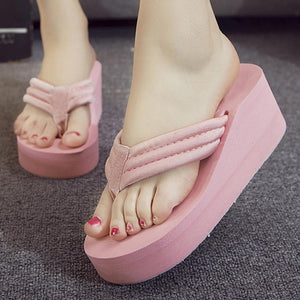 Plain  High Heeled  Cotton  Peep Toe  Casual Wedges