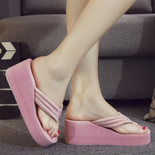 Load image into Gallery viewer, Plain  High Heeled  Cotton  Peep Toe  Casual Wedges