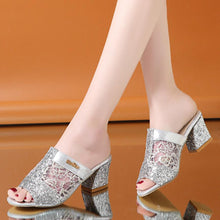Load image into Gallery viewer, Lace  Chunky  High Heeled  Peep Toe  Casual Date Slippers