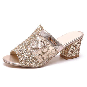 Lace  Chunky  High Heeled  Peep Toe  Casual Date Slippers