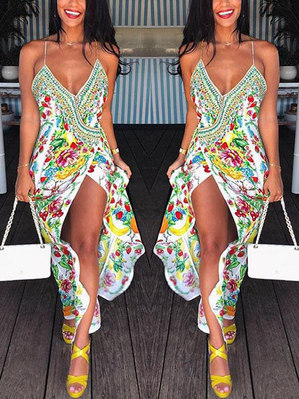 2cce8673d1 ... Load image into Gallery viewer, Bohemian Sexy V Collar Digital Printing  Split Strap Beach Vacation ...