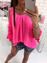 Load image into Gallery viewer, Spring Summer  Polyester  Women  Open Shoulder  Decorative Lace  Plain  Long Sleeve Blouses
