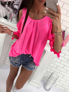Spring Summer  Polyester  Women  Open Shoulder  Decorative Lace  Plain  Long Sleeve Blouses