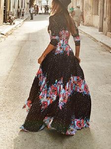 Bohemian V Neck Vacation Dress