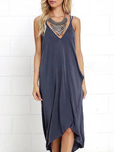 Load image into Gallery viewer, Spaghetti Strap  Asymmetric Hem  Plain Maxi Dress