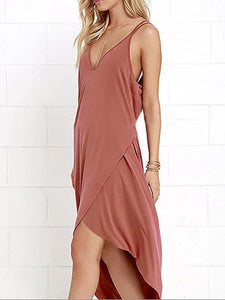 Spaghetti Strap  Asymmetric Hem  Plain Maxi Dress