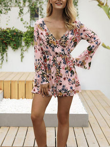 Printed V-Neck Long-Sleeved Sexy Short Jumpsuit