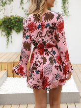 Load image into Gallery viewer, Printed V-Neck Long-Sleeved Sexy Short Jumpsuit