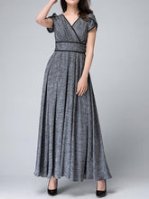 Load image into Gallery viewer, V-Neck  Contrast Trim  Plain Maxi Dress