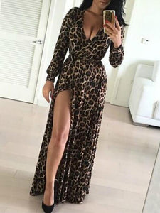 Sexy Maxi Leopard V Neck Split Long Sleeve Maxi Dress