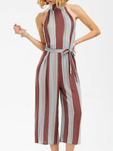 Load image into Gallery viewer, Sexy Striped Sleeveless Wide Leg Jumpsuit