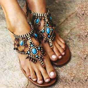 Bohemian Beaded Clip Toe Beach Flat Sandals