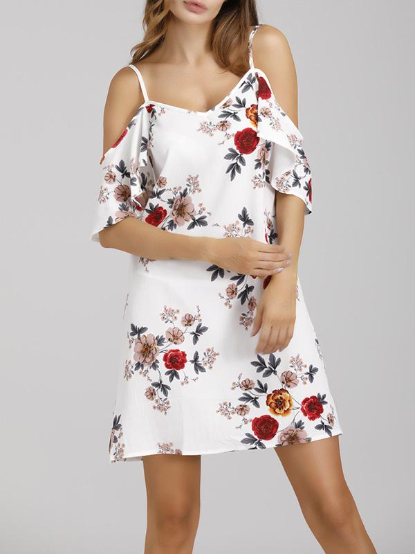 Flower Print Frill Strap Vacation Dress