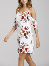 Load image into Gallery viewer, Flower Print Frill Strap Vacation Dress