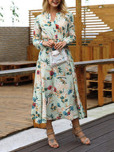 Load image into Gallery viewer, Holiday Wind Print V-Neck Long Sleeve Belt Maxi Dress